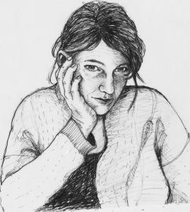 Zelfie 2 (2016) Ik zie mezelf,mijzelf tekenen.